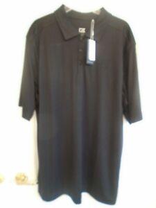 Cutter & Buck sz XLT black Trailblazer logo short sleeve polo shirt NWT