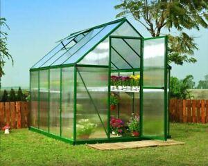Palram Greenhouse Aluminium Polycarbonate Mythos Green Frame Steel Base 4 Sizes