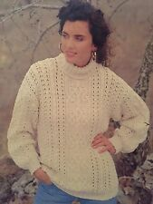 Knitting Pattern For Lady's Aran Jumper - Six Sizes