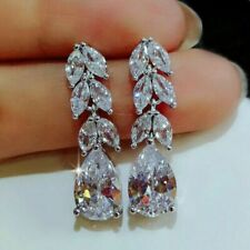 Certified 3 Ct Pear Cut D/VVS1 Diamond Drop/ Dangle Stud Earrings 14K White Gold