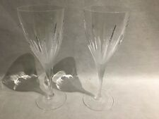 "Pair Royal Doulton Carnegie Crystal Wine Glass  Clear & Frosted 8"" Inch"