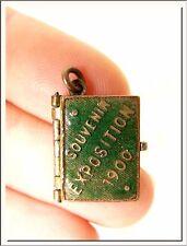 ANTIQUE ~ UNIVERSAL EXPOSITION 1900 ~ FRENCH MINIATURE PHOTO BOOK LOCKET PENDANT