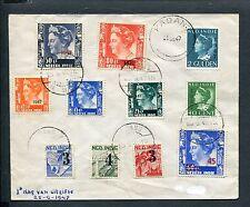 Ned.Indie, FDC Voorloper 25-9-1947, opdruk-zegels nvph 322-325, 326-331 - RRR -