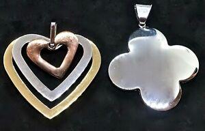 Designer Milor Italy Stainless Steel Slide Pendants: Tricolor Float Heart & Club