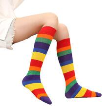 Kids Baby Rainbow Striped Mid Tube Socks Elastic Soft Socks Children Knee Socks