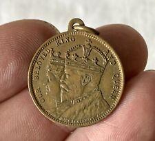 2.5cm Antique Bronze 1902 Coronation EDWARD VII Royalty Commemorative Medallion