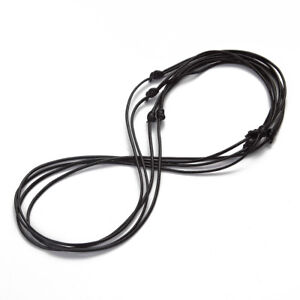 Adjustable Black Leather Cord Necklace Long Sliding Knot Waxed Kabbalah Chain