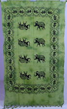 Indian Twin Wall Hanging Green Tapestry Table Cover Elephant Print Wall Decor