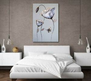 LARGE CANVAS PAINTING PICTURE GREY & WHITE BUTTERFLY FLOWERS ZEN WALL ART PRINT