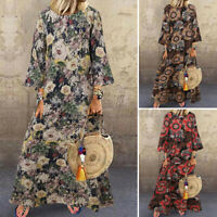 UK Plus Size Women Cotton Floral Print 3/4 Sleeve Casual Loose Maxi Dress Kaftan