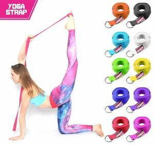 D-Ring Belt Yoga Stretching Strap180 cm Waist Leg Fitness Exercise 100% Cotton