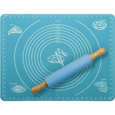 Non-Stick Silicone Pastry Mat & Rolling Pin Baking Dough Baking Sugarcraft Icing