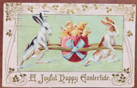 ANTIQUE POSTCARD EASTER GREETING RABBITS BUNNIES EGG CHICKS 1910 EMBOSSED GOLD