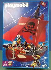 (O3174) playmobil bateau pirate rouge ref 3174 boite complète