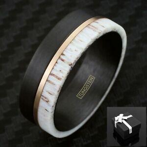 8mm Black Brushed Tungsten, Deer Antler & Rose Gold Line Men's Wedding Band Ring
