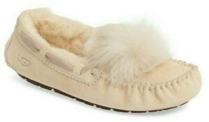 UGG Women's Dakota Pom Pom Slippers Wool Lined Suede Moccasin in Cream Size 11