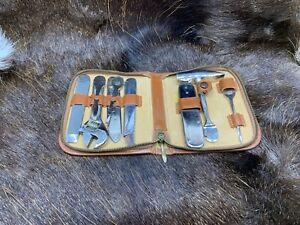 Vintage Hugo Berns Tool Kit Zippered Leather Case Handle & 10 Tools Super Rare