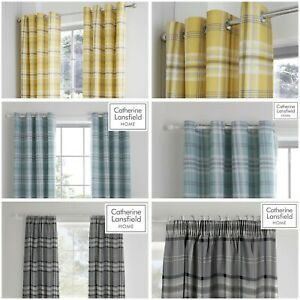 """Catherine Lansfield Kelso Tartan Check Curtains Ochre, Mint Or Charcoal 66""""x72"""""""