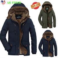 Plus Size Men Winter Warm Velvet Thick Hooded Jacket Zipper Coat Parka Outerwear