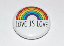 LOVE IS LOVE 25MM / 1 INCH BUTTON BADGE GAY LESBIAN LGBT PRIDE