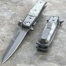 "7"" PEARL STILETTO ASSISTED TACTICAL FOLDING KNIFE Pocket Blade Assist Open New"