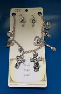 "Cross Silver tone ""FAITH,HOPE,LOVE"" Necklaces w/earrings J16-3/2"