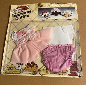 Vintage Pound Puppies NewBorns Outfit Dress with Diaper and Pants from 1985
