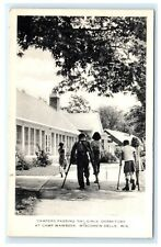 Campers Passing Girls Dormitory Camp Wawbeek Wisconsin Dells WI Postcard 1960 A7