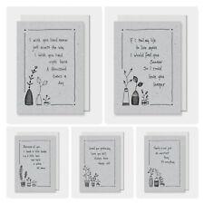 East of India Grey/Black Sketch Flower Saying Theme Greetings Card 16.5x12cm