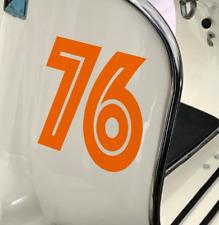 Sticker Zahl Nummer Vespa Roller Auto | Wahl: Zahl, Version,Farbe,Größe bis 22cm