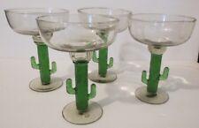MEXICAN MARGARITA GLASSES ~ SAGUARO CACTUS ~ HAND BLOWN ~ SET OF 4 ~ 12 Oz.