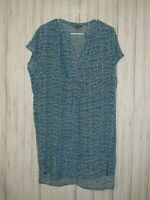 Vince Silk Static Blue Print Dress Size Small