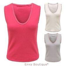 Ärmellose Damenblusen,-Tops & -Shirts mit V-Ausschnitt und Baumwolle für Business