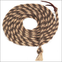 NATURAL BROWN 20ft WEAVER LEATHER TAIL HAIR MECATE HORSE HAND BRAIDED REINS U-T/