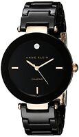 Anne Klein Womens Diamond Dial Rose Gold-Tone Black Ceramic Bracelet Watch