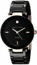 Anne Klein Womens Diamond Dial Rose Gold-Tone Black Ceramic Bracelet Watch