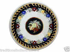 "24"" Marble Coffee Table Top Fruits Pietra Dura Inlay Handmade Home Decorative"