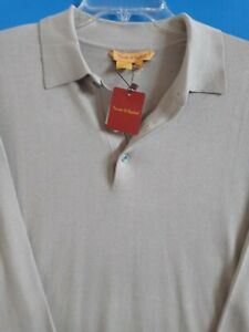 NWT Beige Tricots St. Raphael Rugby Pullover Sweater Silk Cotton Blend $95