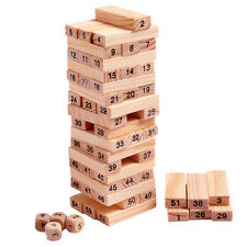 54ps Set Kids Educational Toys Wood Tumbling Tower Board Building Block Game Hot
