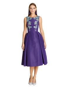 New Oscar de la Renta Purple Sleeveless Bateau-neck Embellished Dress 6