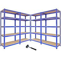 4 Garage Shelving Units Storage Heavy Duty Metal Racking Shelves 5 Tier Bays