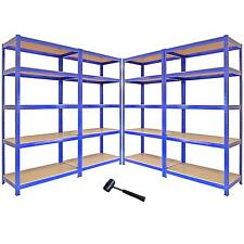 4 Garage Shelving Units Storage Heavy Duty Metal Racking Shelves 5 Tier Bays