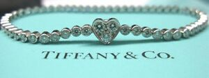 TIFFANY & CO HEART Platinum 1.97ct 58 DIAMOND LINE BRACELET
