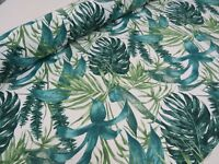GREEN PALM LEAVES Cotton Fabric Curtain Upholstery Tropical Leaf 140cm wide
