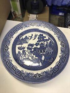 "6 x DINNER PLATES - 26cm (10.25"") CHURCHILL WILLOW BLUE PLUS POT"
