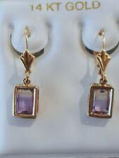 Ametrine Octagon Cut Leverback Dangle Earrings 14kt Solid Yellow Gold