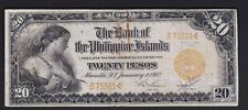 US Philippines Twenty Peso 1912 Bank of Philippine Island ( 20 p ) SN#B75321