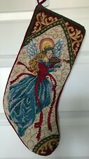"Vintage Christmas Angel needlepoint stocking wool fabric 20"" L burgundy blue"
