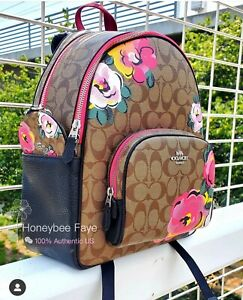 NWT Coach Court Backpack In Signature Canvas With Vintage Rose Print