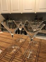 "Set of 4 MIKASA Crystal CHEERS Martini Glasses 7 3/8"" Made in France"
